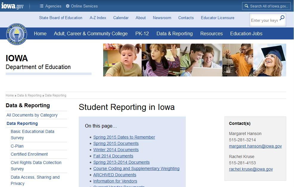 Scroll to the bottom, Select Student Reporting in Iowa https://www.