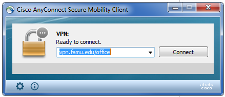 Click the Cisco AnyConnect Secure Mobility Client Icon to establish a VPN