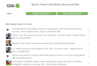 Qlik Sense and Elastic Tweets Example 2 1. Tweets are populated into a Elastic DB via Logstash 2. User searches for Tweets stored in the Elastic DB from a custom web page Web Page Index.