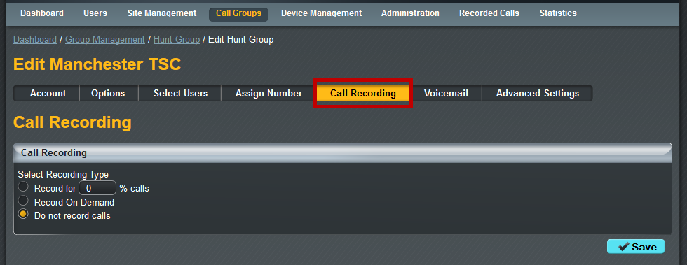 "Select the Hunt Group you want to add Call Recording to by clicking the Edit button. Select ""Call Recording"" from the sub-menu."