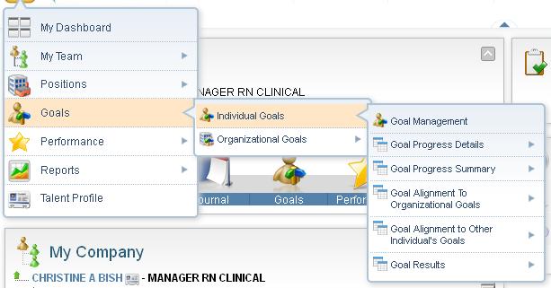 Goals Selecting the Goals section opens the Individual and Organizational Goal sub-menus.