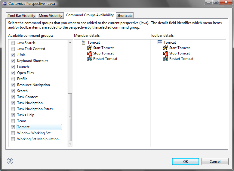 Selecting the Command Groups Availability tab, within the Available command groups