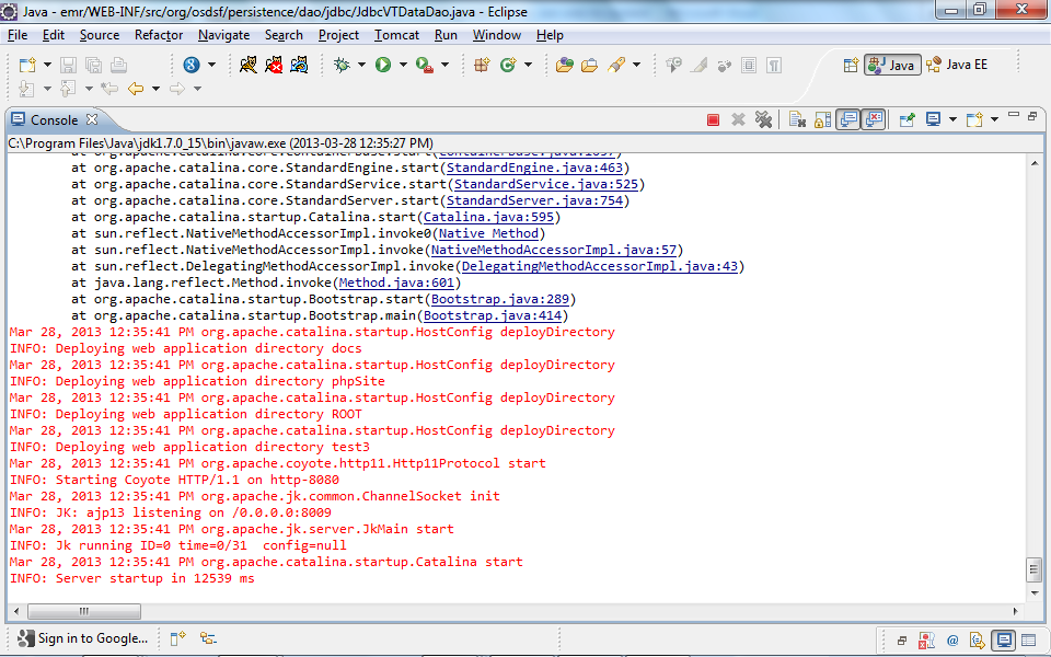 Now it is time to test the Sysdeo plug-in and verify that Tomcat can be enabled and disable through Eclipse.