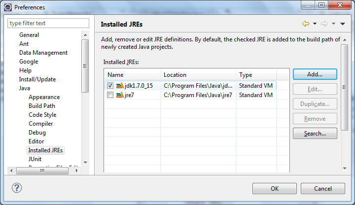Now uncheck the JRE and check the newly added JDK that was added. Select OK and restart Eclipse to confirm the changes. You should now tell the plug-in where your Tomcat system is located.