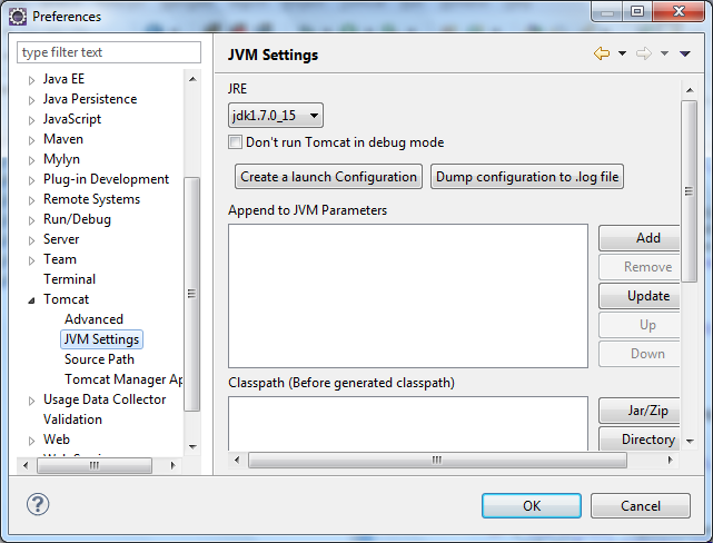 Now select the JVM Setting within the Tomcat tab and select from the drop down menu for JRE to be the JDK that we added earlier. Now select Apply to confirm the changes and then select OK.