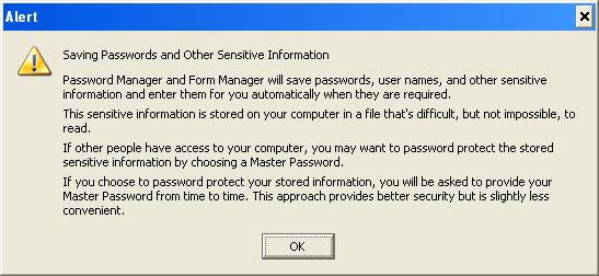 Here's a copy of the warning message you will get when you click OK. Click the OK button to close that box.