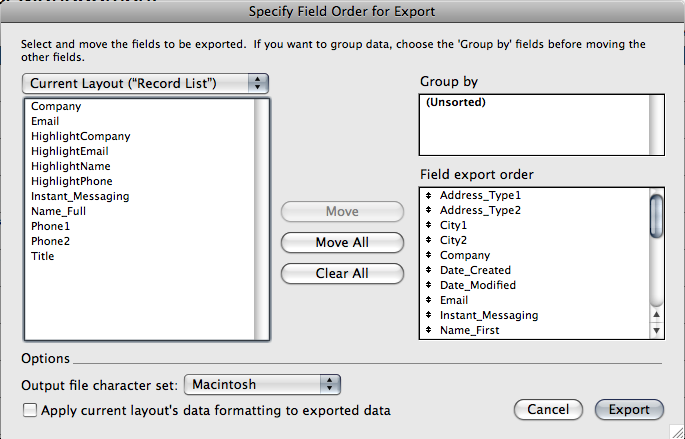 The Specify Field Order for Export dialog box will appear. As a default setting, the list of fields displayed on the left, is based on the current layout.