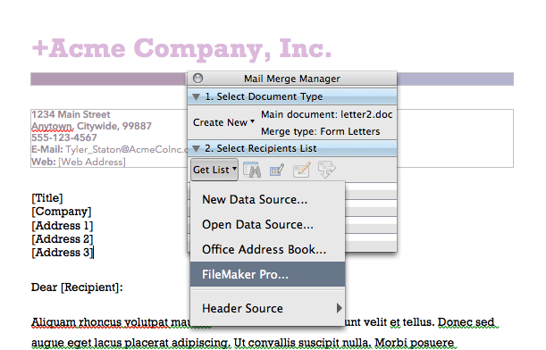 Figure 4: Selecting the Mail Merge Manager feature within Microsoft Word.