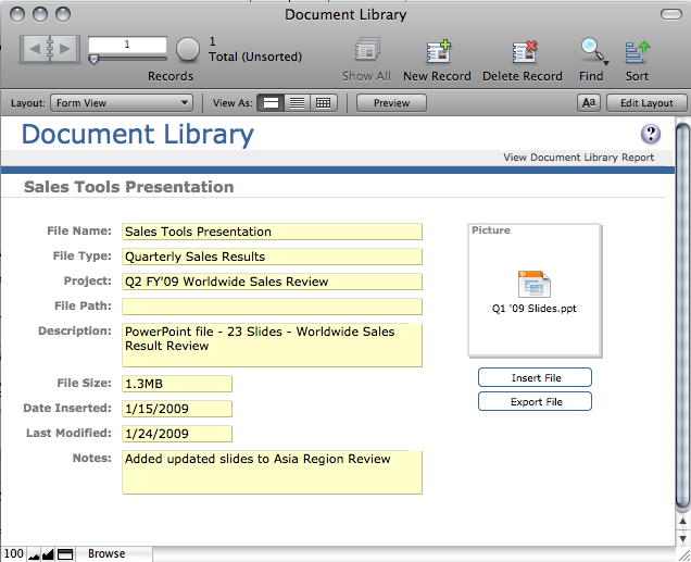 Step 2: Inserting a File into the Document Library File Figure 2: Use the Document Library file to store details on a PowerPoint Presentation The Document Library Form View layout includes a