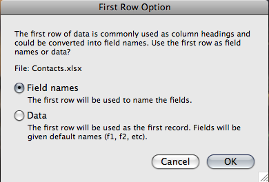 1. With your spreadsheet file closed, simply drag the Excel file onto the FileMaker Pro icon. 2.