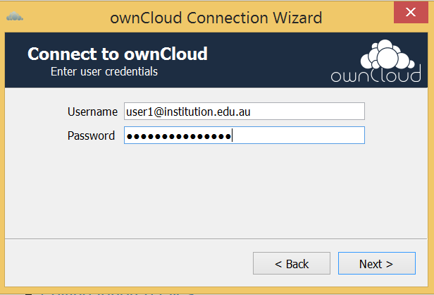 Enter institutional email address and the new sync client password you created (ie: NOT you institutional login password for CloudStor)