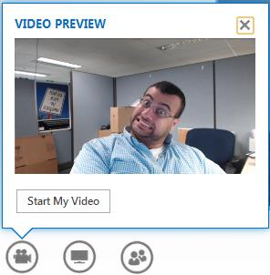 Manage Video 1. Preview your video Hover the mouse over the video button. 2. Start your video Click on the Video button. 3. End your video Click on the Video button.