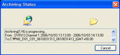 Search Functions Search Options Archive Copies a backup of the video data from the Observation System to the local PC. Time Range - Set the start and end times for backup.