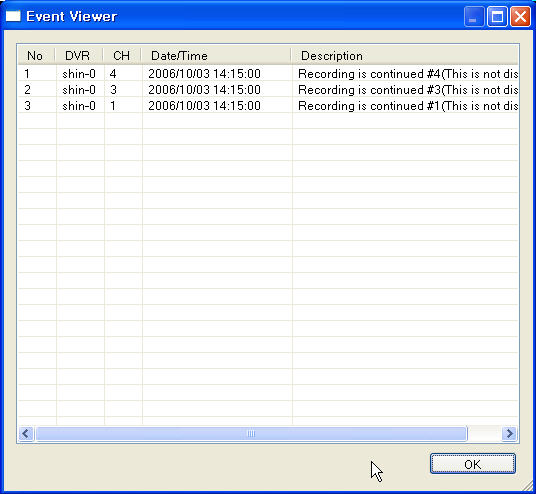 Search Functions Event Viewer Displays a list of all Events. NO - Event Number DVR - Displays the Observation System where the event originated from.