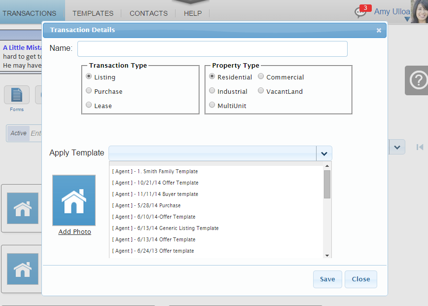 Transactions The transaction file is a set of contracts (C.A.R. forms) for a specific client or property.