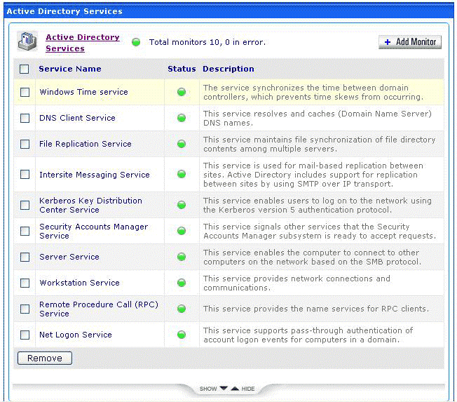 Complete list of active directory parameters monitored by OpManager Here s a tree view of the entire set of parameters monitored by OpManager to ensure that your Active Directory