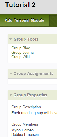 Notes: We have highlighted some default settings for the group tools that you may wish to edit: Group journals: Permit Members to View Journal is selected.