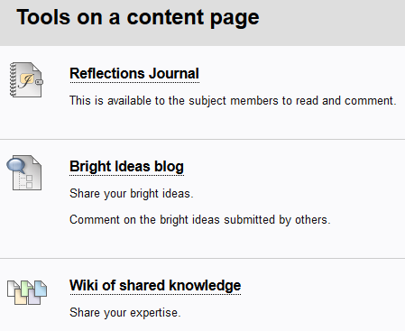 Group versions of the tools are available via group pages. Subject-level tools are created on content pages.