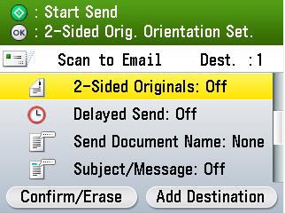 How to scan and send to your email 1 Using the arrows or Scroll Wheel found below the device screen, select the Send/Fax option and OK to confirm.
