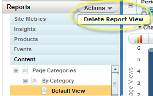 From here, you can save the report view. It will save to the Content by Page Categories by Category navigation area. Delete a report Click on Actions in the Reports header.