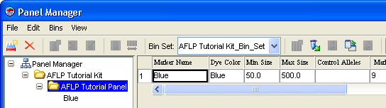 Chapter 3 Analyzing and Examining the Data Saving the Generated Panel and Bin Set c. In the Import Panels dialog box, select the AFLP Tutorial Kit_Panel.txt, then click Import.
