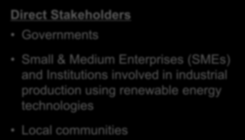 Stakeholders Governments Small & Medium Enterprises (SMEs) and Institutions involved in
