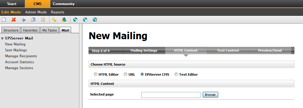 Sending a New Mailing 11 URL 1. Select URL in the Choose HTML Source section. 2. Enter a specific web address for the content by selecting the URL button and entering the appropriate URL.