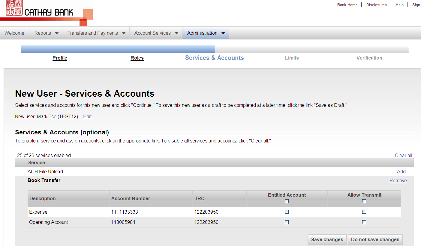 7. Under the Services & Accounts link, click Add next to each service to which the user is entitled.