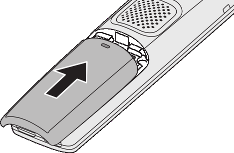 3) Insert the bottom of the battery first, then lay the battery down and push it gently until it snaps into place. 4) Replace the cover and slide it up into place.