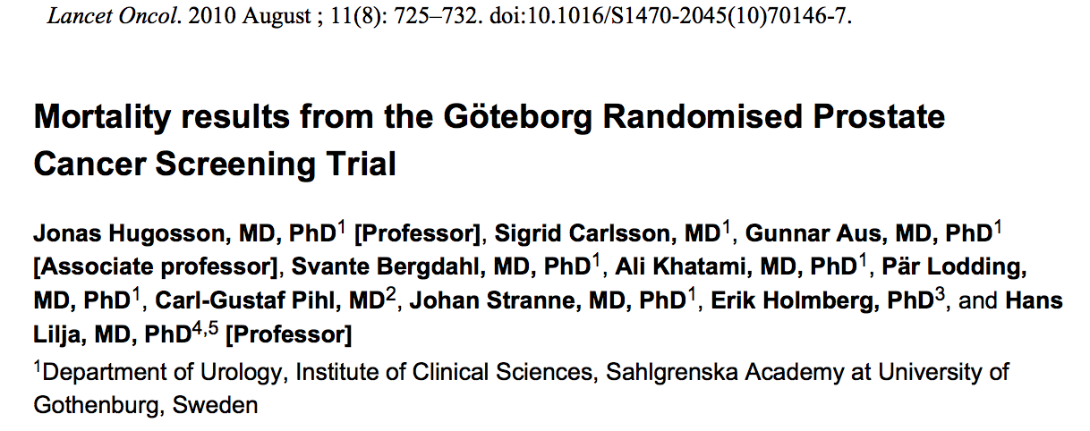 Swedish subset of ERSPC (Göteborg study). 20,000 patients randomized to screening or no screening. Mean Follow Up = 14 years.