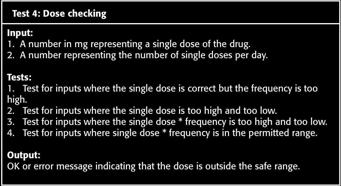 Example test case description for dose checking Sources: Sommerville, I.