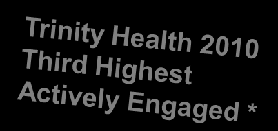 Active Engagement Trinity Health 2010 Associate Survey Data Actively Engaged 37.6% (Norm 25%) Ambivalent 48.