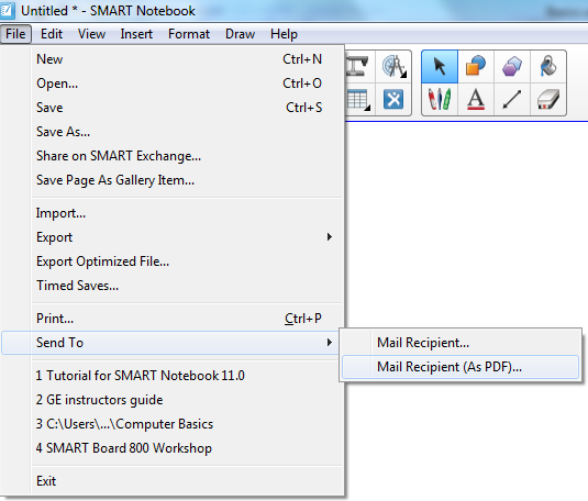 To attach a file to an e-mail message as a PDF Select File > Send To > Mail Recipient (as PDF).