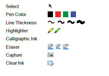 The SMART Ink toolbar includes the following tools: When you pick up your SMART interactive product s pen or select a pen tool, a fly-out shows the ink color and the tool.