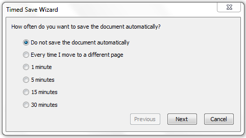 To export a file automatically as web pages 1. Select File > Timed Saves. The Timed Save Wizard appears. 2.