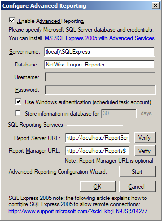 c) If you selected to configure an existing SQL Server deployment for reporting, configure the SQL Server database connection settings.