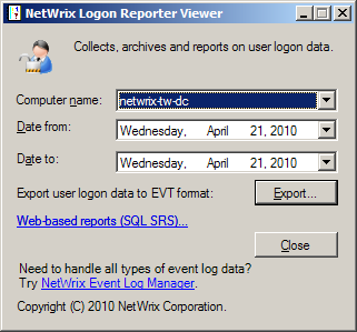 3. Viewing Archived Events In the Standard and Freeware Editions the archived events can be viewed using the Logon Reporter Viewer tool available from Start Programs NetWrix Logon Reporter Logon