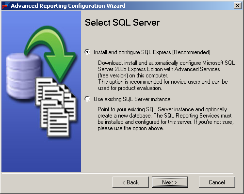 4.1. MS SQL Server Installation Open the Logon Reporter configuration utility go to the Advanced tab and click Configure for Advanced Reporting.