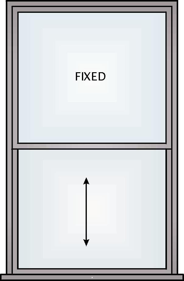 Sliding e) Single Hung Windows A single hung window is a vertical slider in which the top pane of glass is fixed and the bottom sash moves.