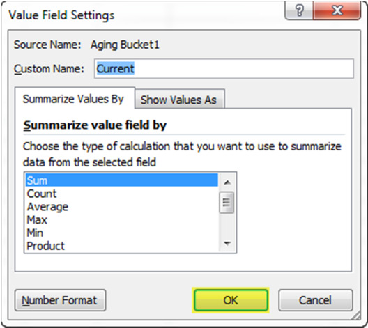 In Excel, select Insert > Pivot Table. Under table Range, select all of the data in the Customers Past Due table. The Table/Range field will fill in as shown.