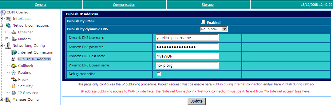Publish the ewon IP address 5. Chapter 5. Publish the ewon IP address When you connect to your ewon using GPRS or ISP, the online address is probably not fixed.