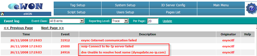 8. Troubleshooting Publish IP address does not work If you did not receive an email or if the dyn DNS does not work, have a look to the Event Log of the ewon.