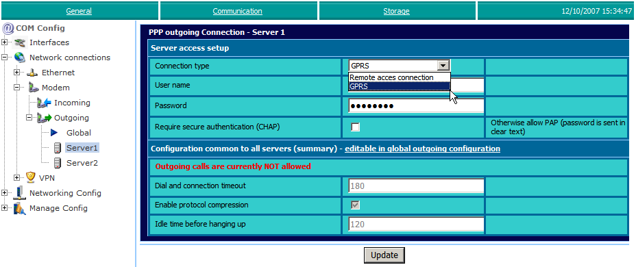 3. ewon configuration for Internet connection Configuration System Setup Communication Network connections Modem Outgoing Server1 PSTN or ISDN Modem Enter here the phone number, User name and