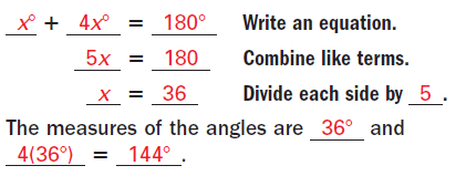 EXAMPLE 3 Find angle measures SPORTS The basketball pole forms a pair of supplementary angles with the ground. Find m BCA and m DCA. (1.5 cont.