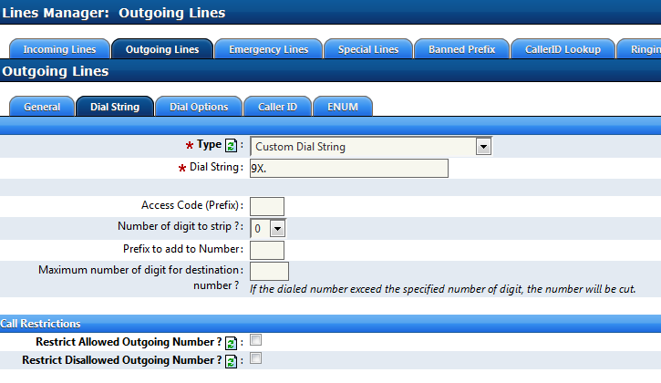 Tandem Dial PSTN Pattern From the specific VoIP Interface you must set up an Outgoing Line and configure the