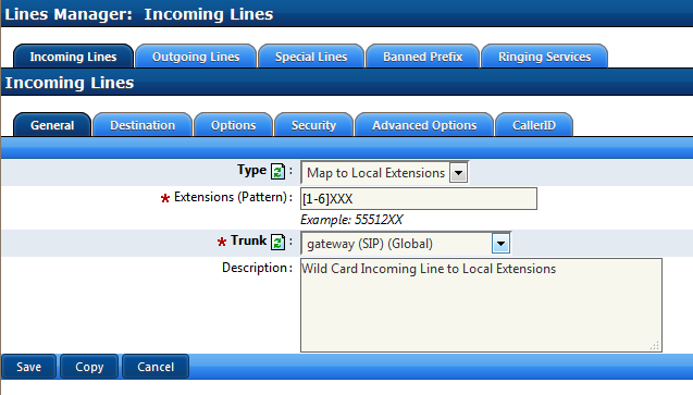 Private TIE Trunks to Extensions Incoming Lines to local extensions will use Called Number/DNIS supplied by the