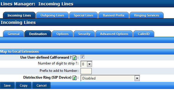 Incoming Lines Use User-defined CallForward ensures that any incoming call to this DNIS