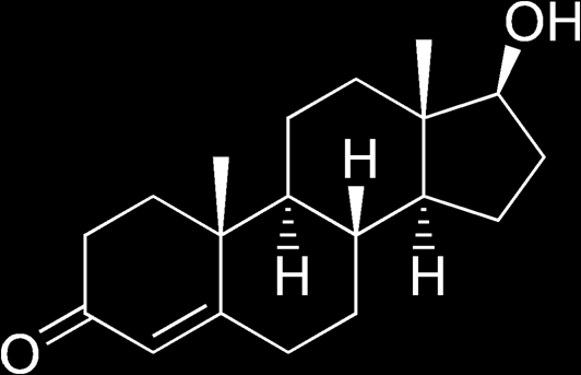Testosterone General I The androgen testosterone (17 -hydroxyandrostenone) has a molecular weight of 288 Daltons.