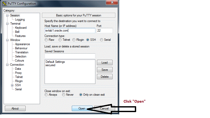 Figure 1 - PuTTY Basic Connection Settings 2.