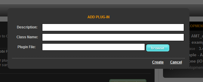 If your application requires native plugins, set the toggle switch to ON. Next, click the button which takes you to a screen where you can add information about your plugin and create it.
